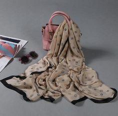 100% Silk Multi-Color Multi-Flower Casual Shawl Scarves - LINQ LA