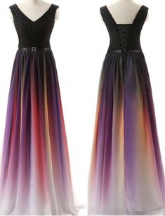 New shoulder strap colorful gradient evening dress banquet#Chiffon#Party#Evening#PromDresses