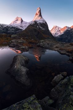 Romsdalen, Norway by Ron Jansen  An image taken last autumn. The Romsdalshorn peak is bathing in the first light of the day, and covered with the first fresh snow.  https://f11news.com/30/10/2017/romsdalen-norway-by-ron-jansen