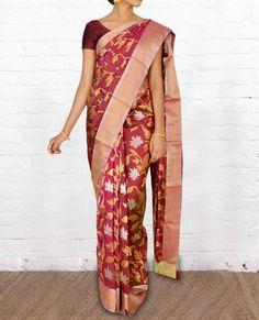 Chanderi Silk Sarees CSVT017 - Pure Silk Sarees
