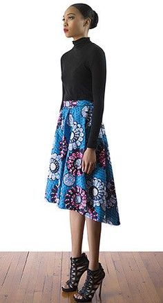 Floral Blue wax print Knee length circle skirt with High Low hemline.
