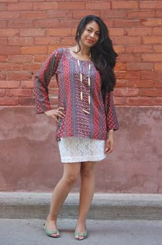 ~ Natasha Fatah ~  Indian Paisley Tunic and French Lace Skirt.