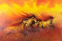 Dream Catcher Native American, Native American Art, Horse Themed Bedrooms, Fire Horse, Chariots Of Fire, Red Wall Art, Horse Wall Art, Running Horses, Native Art