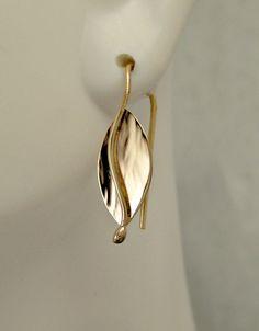 14kt Gold Split Leaf Earrings by LauraRoberson on Etsy
