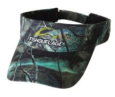 Crappie Pattern Full Camo Visor. Constructed from rugged poly twill fabric with anti-microbial treatment for freshness and wicking moisture management keeps the cap cool. Fishouflage logo on the front of the cap with velcro closure on the back.