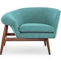 Louie Armchair in Aqua w. walnut legs.