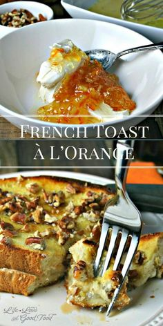 French Toast à L'Orange — ready in under 30 minutes — has a delicious pecan crusted outside and a creamy orange filling on the inside. Best Breakfast Recipes, Sweet Breakfast, Make Ahead Breakfast, Breakfast Time, Brunch Recipes, Brunch Ideas, Breakfast Ideas, Good Food, Yummy Food