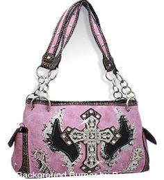 Pink Fashion Cross & Wing Purse with Rhinestone