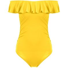 Off The Shoulder Ruffle One Piece Swimwear ($11) ❤ liked on Polyvore featuring swimwear, one-piece swimsuits, 1 piece swimsuit, flounce swimsuit, flounce bathing suits and ruffle bathing suit