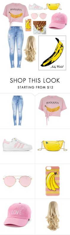 """thats bananas"" by stlclove on Polyvore featuring River Island, adidas, LMNT, Iphoria, David & Young and Andy Warhol"