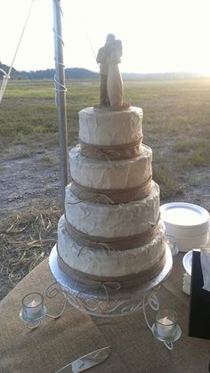 Sister-in law impressed me yet again with her cake making skills! Perfect gourmet country wedding cake! Melissa Brewer