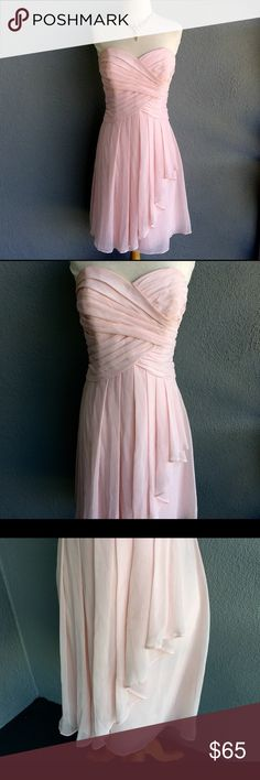 DAVID'S BRIDAL Light Pink strapless Dress Size 10 Excellent Condition Pink Dress from David's Bridal Size 10. David's Bridal Dresses Midi