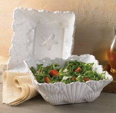 "Mud Pie Embossed Shell Salad Bowl - 9.5"" Square X 4"" Tall"