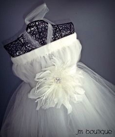 Ivory Flower Girl Dress with Feather for Wedding. $49.99, via Etsy.