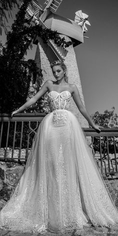 dany mizrachi spring 2018 bridal strapless sweetheart neckline heavily embellished bodice bustier sexy romantic a  line wedding dress chapel train (18) mv -- Dany Mizrachi Spring 2018 Wedding Dresses