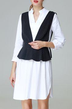 A Line Dress With Stripe Peplum Vest
