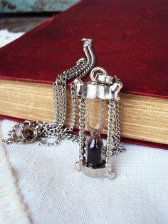 Vintage Style Hour Glass Pendant Necklace by primitivepincushion, $22.99