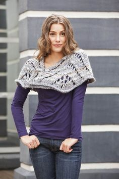Free knitting pattern - Skyscraper Shawl uses two balls of Universal Yarn Classic Shades Big Time.