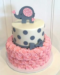 Baby shower cake with elephant on top. The cake is a pink rosette 2 tier with grey polka dots and bow on top tier. Baby shower cake with elephant on top. The cake is a pink rosette 2 tier with grey polka dots and bow on top tier. Tortas Baby Shower Niña, Torta Baby Shower, Girl Shower Cake, Comida Para Baby Shower, Baby Girl Shower Themes, Baby Shower Decorations, Baby Shower Cake For Girls, Cake For Baby Girl, Baby Shower Girl Cupcakes