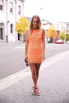 Pretty orange lace dress for Summer.