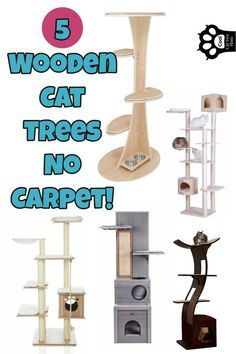 ENDS Wooden Cat Trees No Carpet - Want an easy to clean bare wood cat tree that doesn't collect hair? We LOVE these 5 including Armarkat Solid Wood Cat Tree & the Cleopatra Cat Tree. Each is a GREAT wood cat tree no carpet! Wooden Cat Tree, Wood Cat, Modern Cat Furniture, Pet Furniture, Furniture Design, Cat Tree Plans, Diy Cat Tent, Cool Cat Trees, Cat Towers