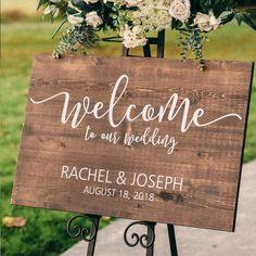 Wood Wedding Signs, Wedding Signage, Wood Themed Wedding, Wedding Cornhole Boards, Wedding Hashtag Sign, Welcome To Our Wedding, Wedding In The Woods, Woods Wedding Ideas, Welcome Back Sign