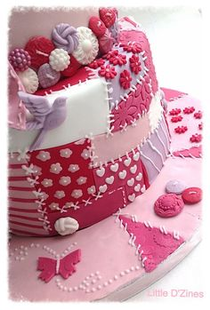 Patchwork cake - by LittleDzines @ CakesDecor.com - cake decorating website