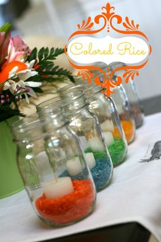 How to color rice any color...great to use as a base for candles at parties...can color co-ordinate rice color with party theme