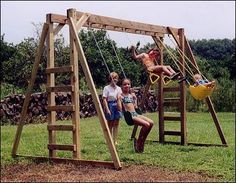 Monkey Bars and swings in a compact area.  We could do two swings and a pair of rings.