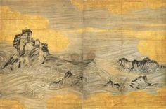 長谷川等伯「波濤図」 京都・禅林寺蔵 Japanese Screen, Chinese Patterns, Oriental, Japanese Painting, China Painting, Japan Art, Woodblock Print, Painting & Drawing, Landscape Paintings