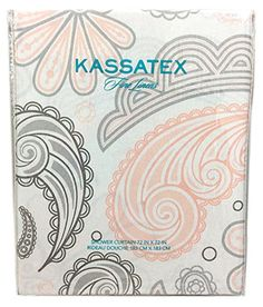 Kassatex Large Scale Paisley Floral Scroll Print Fabric Shower Curtain  (Grey/Pink) Kassatex