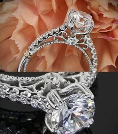 Verragio Prong Set Diamond Engagement Ring  from the Verragio Parisian Collection. It features 0.25ctw of Round Brilliant Diamond Melee (F/G VS) that enhance a round diamond center of your choice. All variants are shown with Rose Gold shoulders but are customizable to suit your taste.