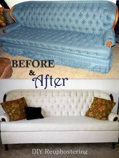Reupholstered couch using a drop cloth