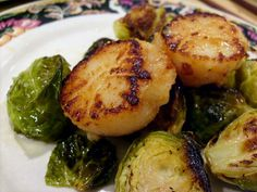 Miso butter scallops with brussels sprouts.