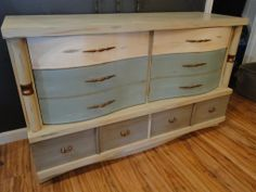 This was a dresser that I had so much fun to redo because the colors reminded me of the beach!