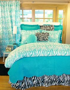 Buy your Turquoise Zebra Duvet by Davenport here. The Turquoise Zebra Duvet is the perfect stylish finishing touch for your room! Part of the Turquoise Zebra Bedding Col Teenage Girl Bedroom Designs, Teen Girl Bedrooms, Teen Bedroom, Dream Bedroom, Bedroom Decor, Bedroom Ideas, Zebra Bedrooms, Bedroom Interiors, Blue Bedroom