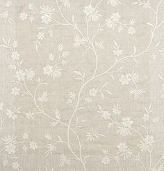 Hermione Embroidered Curtain Fabric Neutral Linen Curtain fabric with embroidered ivory floral design.