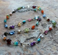 Multi Gemstone necklace silver necklace by angryhairjewelry, $75.00