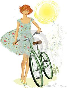 Red girl with bicycle by Elena Mikhaylova, via Dreamstime