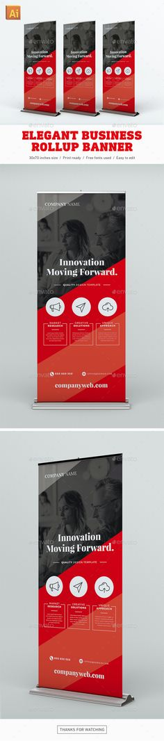 Elegant Business Rollup Banner by Snowboy Elegant Business Rollup BannerHighly editable Illustrator rollup banner template. Easy to customize with styles and swatches. Clea