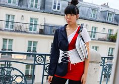 Susie Lau in a Jacquemus dress, Prada corset, and J.W.Anderson bag Vogue Phil Oh's Best Street Style Pics From the Paris Haute Couture Shows