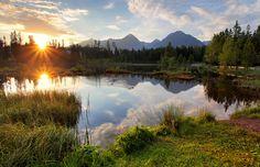 Mountain lake in Slovakia at sunset - Strbske pleso Tatras - Strbske pleso by Tomas Sereda on Montenegro, Beautiful World, Sunrise, Europe, Mountains, Travel, Animals, Photograph, Photography