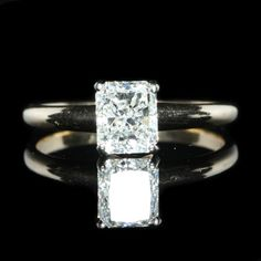 1.46 Carat Radiant Diamond Solitaire Engagement Ring. Diamond Exchange Dallas a very large selection of wholesale engagement rings.  Find out more at http://diamondexchangedallas.com/engagement-rings-dallas