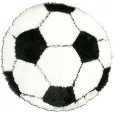 Tapis rond noir et blanc ballon de football pour chambre d'enfant.