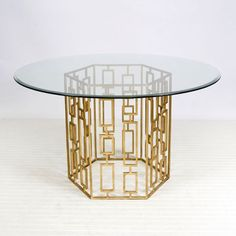 Jackson Dining Table with Gold Leaf Base and Beveled Glass Top Worlds Away