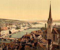From Peter Church, with Fraumünster and Alpenkette, Zurich, Switzerland