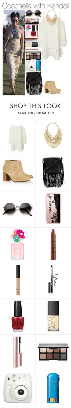 """""""Coachella with Kendall"""" by xhoneymoonavenuex ❤ liked on Polyvore featuring Kendall + Kylie, Cara, Schutz, Urban Originals, ZeroUV, Casetify, Marc Jacobs, tarte, NARS Cosmetics and NYX"""