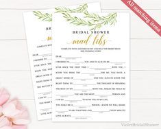 Bridal Shower Template Amusing Dusty Pink Mad Libs Game Templateprintable Floral Blush Spring .