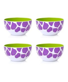 Purple Giraffe Bowl - Set of Four My Favorite Color, My Favorite Things, Kitchen Necessities, Out Of Africa, Giraffe Print, Kitchen Things, All Things Purple, Bowl Set, Bling Bling