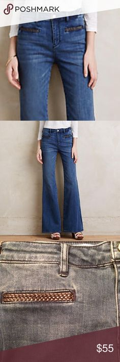 Pilcro Flare Jeans with Leather Trim High rise flare jeans. Leather trim on front welt pockets. Back patch pockets. New With Tags. Anthropologie Jeans Flare & Wide Leg